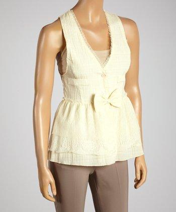 Young Essence Beige Bow Button-Up Vest