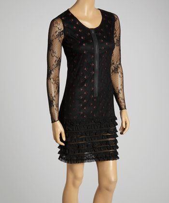 Young Essence Black & Red Lace Zip-Up Dress