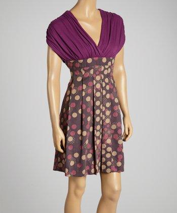 Young Essence Purple Dot Cape-Sleeve Surplice Dress