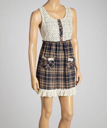Young Essence Denim Eyelet Plaid Button-Up Dress