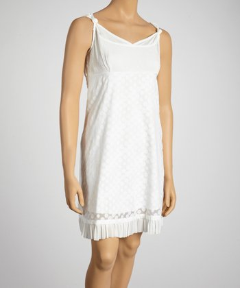Young Essence White Dot Knotted Shift Dress