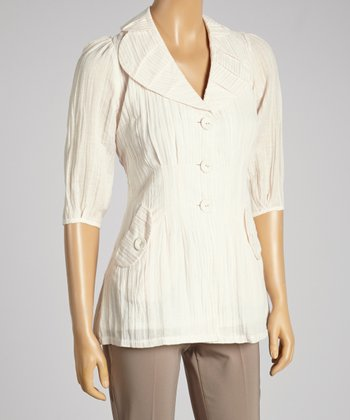 Young Essence Beige Pinstripe Button-Up Top