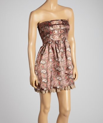 Young Essence Brown Paisley Button Strapless Top
