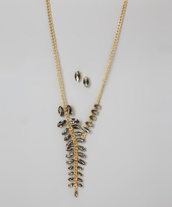 Nancy Yang Gold & Gunmetal Sparkle Leaf Necklace & Stud Earrings