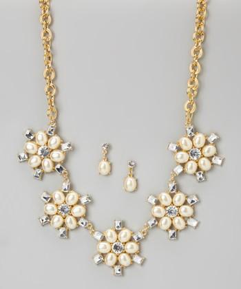 Nancy Yang Gold & Pearl Sparkle Flower Bib Necklace & Drop Earrings