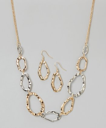 Nancy Yang Gold & Silver Hammered Link Necklace & Drop Earrings