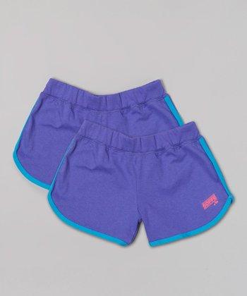 Neon Purple Postgame Shorts Set - Girls