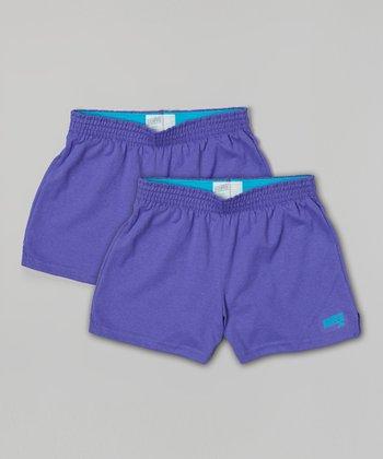 Neon Purple Soffe Shorts Set - Girls