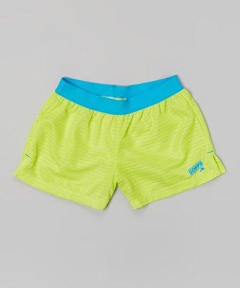 Sweet Green Lace Mesh Shorts - Girls