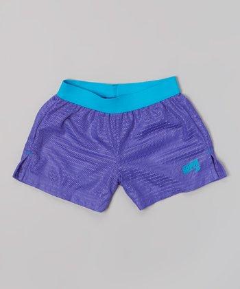 Neon Purple Lace Mesh Shorts - Girls