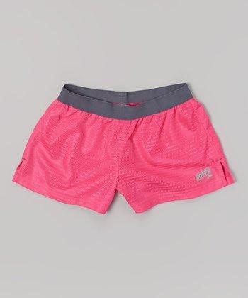 Pink Glo Lace Mesh Shorts - Girls