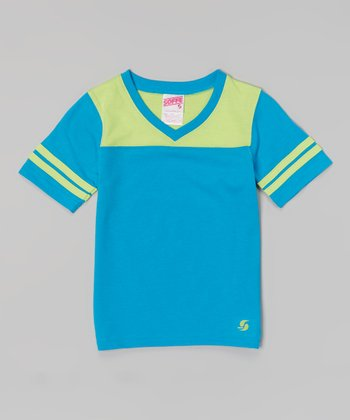 Atomic Blue & Sweet Green Football Tee - Girls