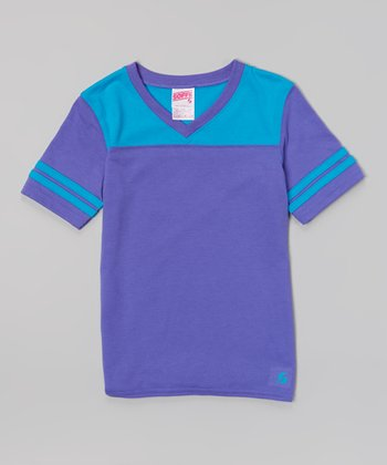 Neon Purple & Atomic Blue Football Tee - Girls