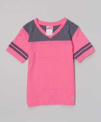 Pink Glo & Gunmetal Football Tee - Girls