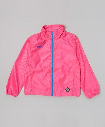 Pink Glo Zebra Wind Jacket - Girls