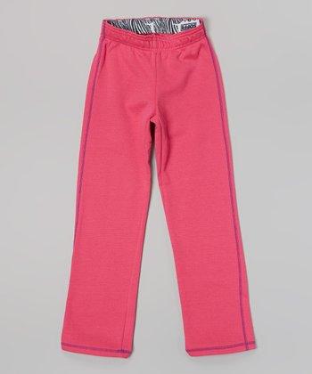 Pink Glo Zebra Fleece Pants - Girls