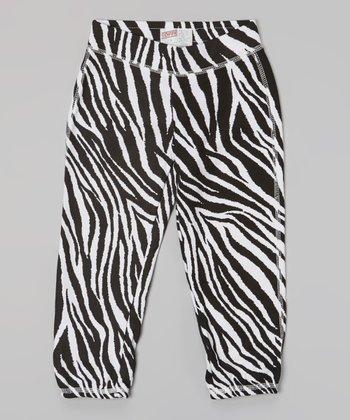 Black & White Zebra Fleece Capri Pants - Girls