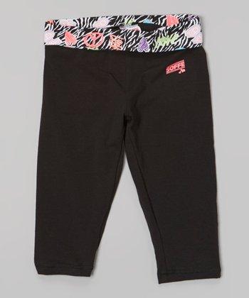 Black Zebra Skinny Gym Capri Pants - Girls
