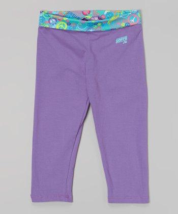 Grape Peace Skinny Gym Capri Pants - Girls