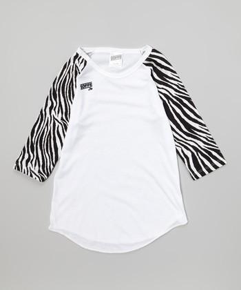 White Zebra Raglan Baseball Tee - Girls