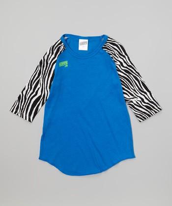 Electric Blue Zebra Raglan Baseball Tee - Girls