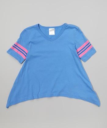 Ultra Marine & Neon Pink Stripe Sidetail Tee - Girls