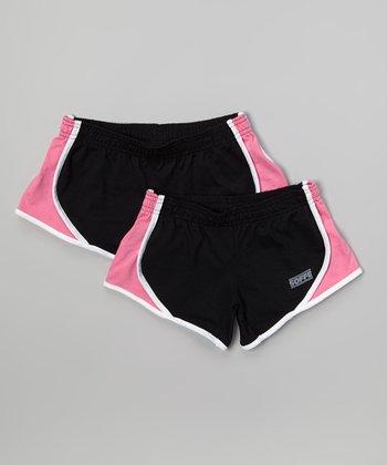 Black & Pink Team Shorts Set - Girls