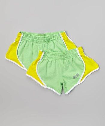 Summer Green & Neon Yellow Team Shorts Set - Girls