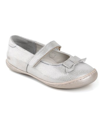 Aster White & Silver Mifrizba Leather Mary Jane