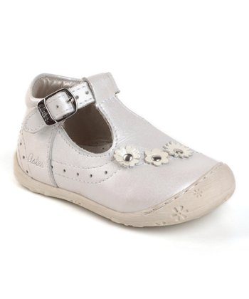 Aster White Jasmin Leather T-Strap Shoe