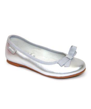 garvalin Silver Leather Ballet Flat