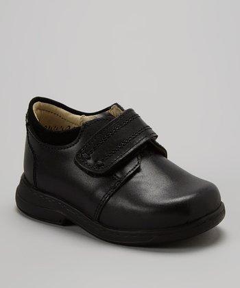 Little Dominique Black Stitched Adjustable Leather Dress Shoe