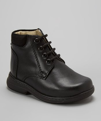 Little Dominique Black Lace-Up Leather Ankle Boot