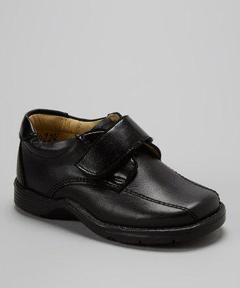 Little Dominique Black Adjustable Leather Dress Shoe