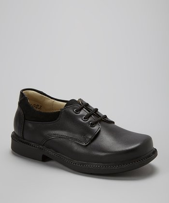 Little Dominique Black Leather Dress Shoe