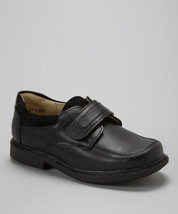 Little Dominique Black Adjustable-Strap Leather Dress Shoe