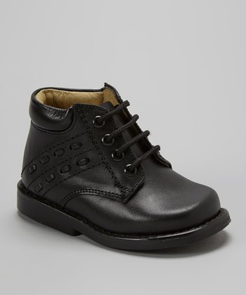 Little Dominique Black Stitched Leather Ankle Boot