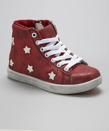 Aidele Burgundy Star Hi-Top Sneaker