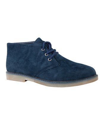 Fast Lee Navy Faux Suede Ankle Boot
