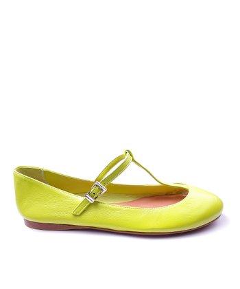 Papanatas Pistachio Alfa Leather T-Strap Shoe