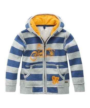 Blue Stripe & Motorcycle Zip-Up Hoodie - Infant, Toddler & Boys