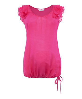 Dark Pink Sanura Frill Silk-Blend Maternity Top