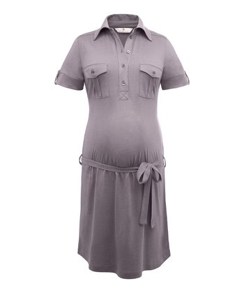 Warm Gray Caleno Polo Maternity Dress
