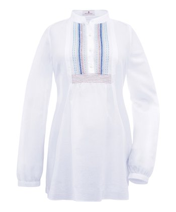 White Simanda Maternity Long-Sleeve Tunic