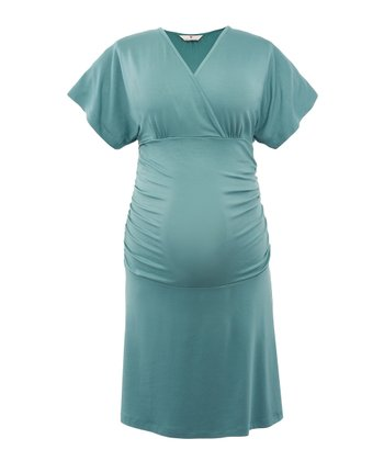 Smoky Green Mirja Maternity Cape-Sleeve Dress