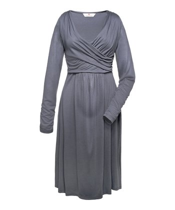 Anthracite Parmida Crossfront Maternity Dress
