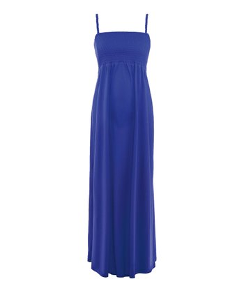 Intense Blue Orsina Shirr Maternity Maxi Dress