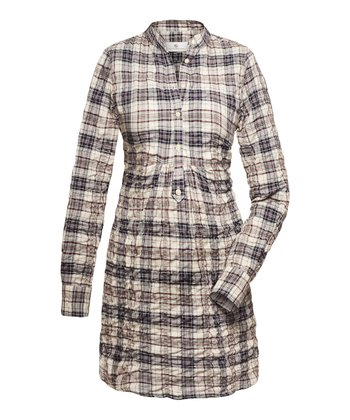 Crème & Bordeau Plaid Mina Maternity Button-Up Dress