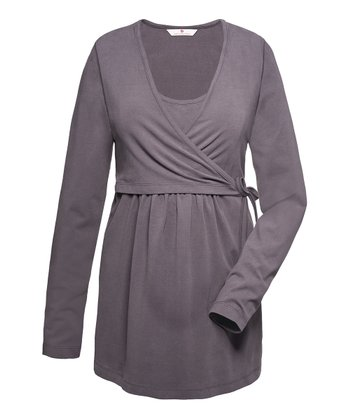 Smoky Violet Hallie Maternity Wrap Top
