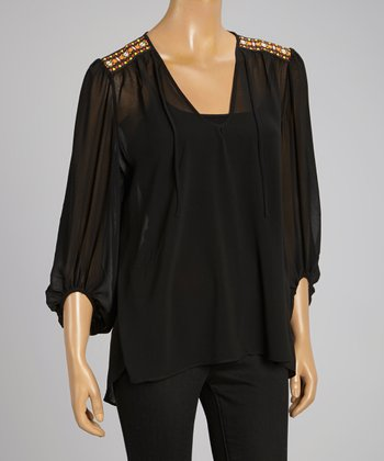 Black Sheer Embellished Shoulders Chiffon Top